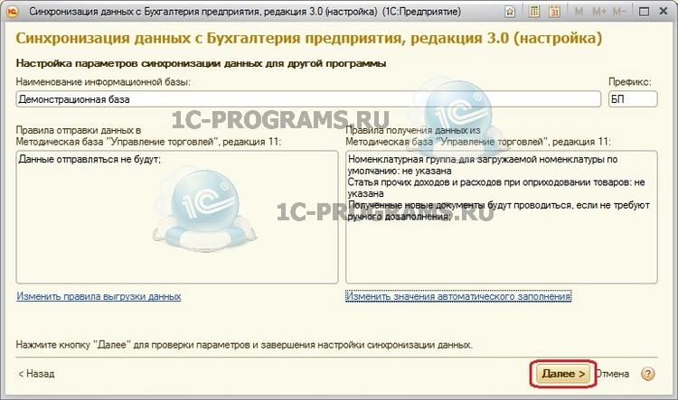 отредактированная информация по синхронизации между базами 1С